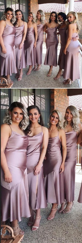 Simple Satin Short Mermaid Bridesmaid Dress, 2018 Sexy Spaghetti Straps Slit