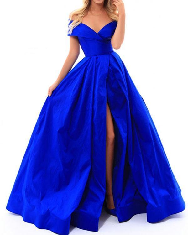 Elastic Satin Prom Dresses Split Long Prom Party Gowns Fashion