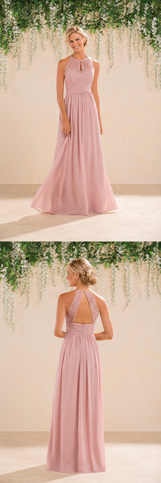 new york good texture classic styles Blush Pink Chiffon Bridesmaid Dress, Round Neck Long Bridesmaid Dress 0317