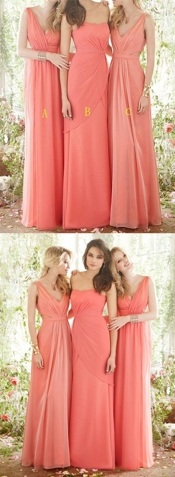 28e5d00f605 Coral Chiffon Bridesmaid Dress