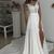 Off White Long Chiffon Cap Sleeves Split Wedding Dresses With Lace
