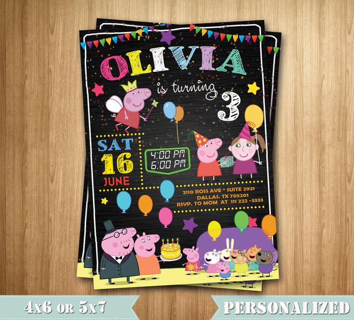 Peppa Pig Invitation Peppa Pig Birthday By Maxinvites On Zibbet