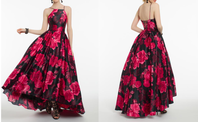 Elegant Halter A-Line Prom Dress,Hi-Lo Evening Dress,Flower Print Special Dress