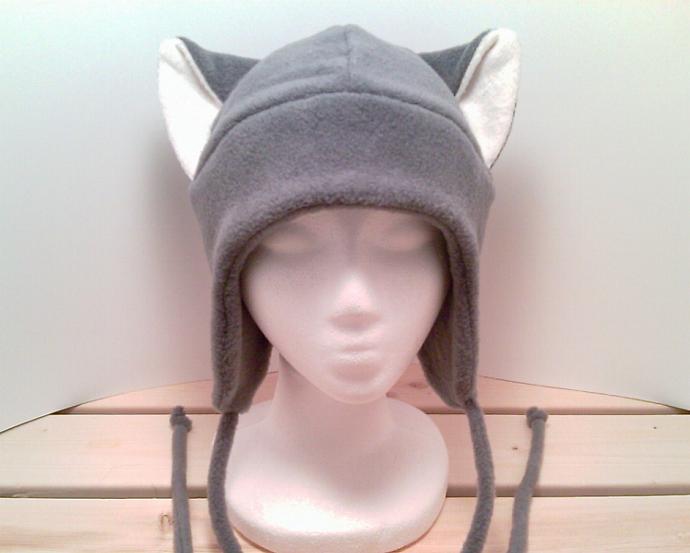 GREY / WHITE KITTY CAT AVIATOR ear flap fleece ski