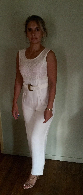 Vintage 80's Sexy Elegant Jumpsuit Ivory Sleeveless Lace Bodice - High Waist-