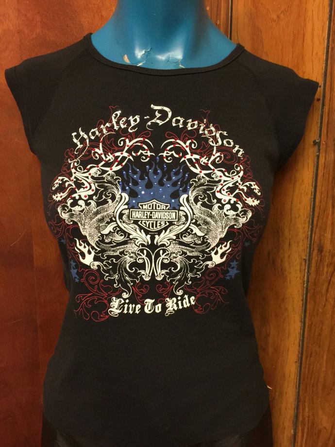 Vintage 90's Harley Davidson Biker Tee Live To Ride  Blingy Harley Tee Vintage