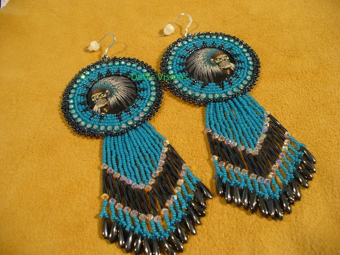 Native American Style Large Rosette Beaded Skeleton Indian Chief Earrings in