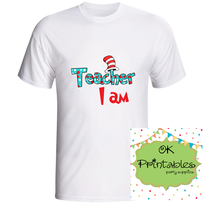 Teacher I AM - Printable Iron On -Clip Art - DIY Disney Shirt - Iron On Transfer
