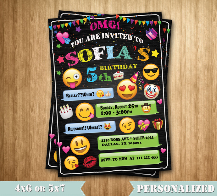 emoji invitation emoji birthday invitation by maxinvites on zibbet