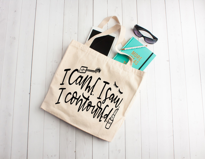 I came i saw i contoured, makeup artist gifts, funny quotes, totes with quotes,