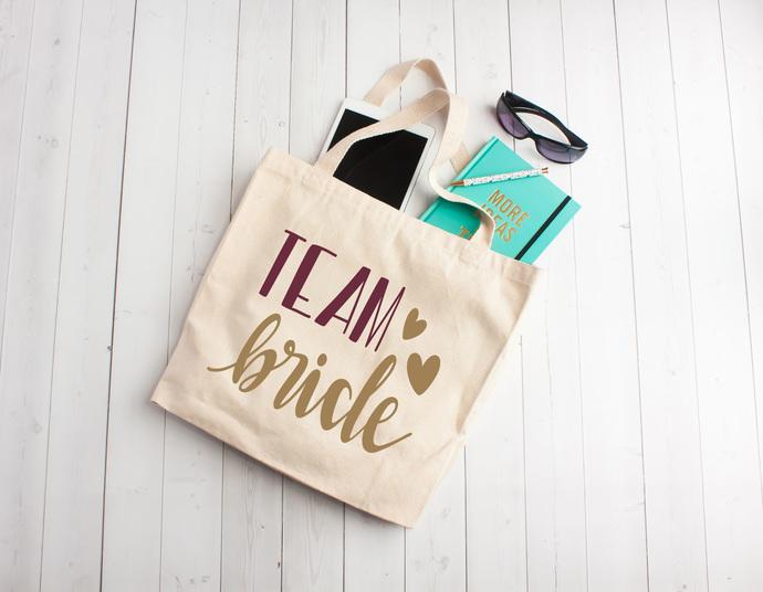 Team Bride, Bridal party gifts, bridesmaid tote bags, custom bridesmaid gifts,
