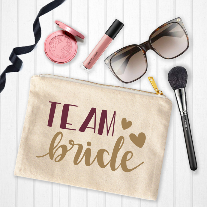 Team Bride, Bridesmaid gifts, personalized toiletry bag, custom Makeup Pouch,