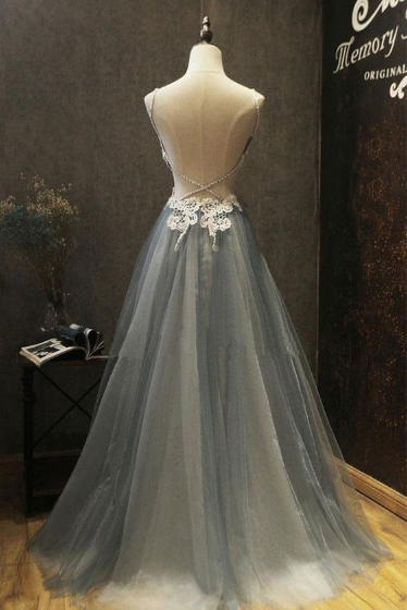 Charming Prom Dress,Tulle Prom Gown,Appliques Prom Dress,Backless Prom Gown 858