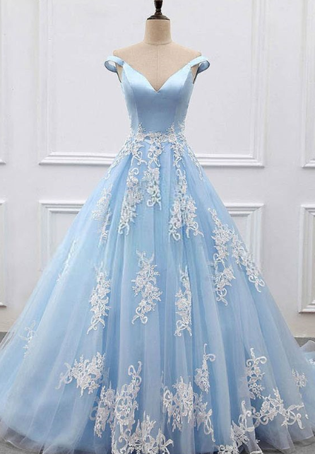 Charming Prom Dress,V-Neck Prom Gown,Appliques Prom Dress,Off the Shoulder Prom