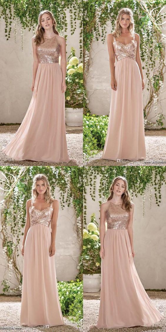 2e2c151beaff Blush Pink Chiffon Bridesmaid Dress, Spaghetti Straps/Round Neck Long  Bridesmaid