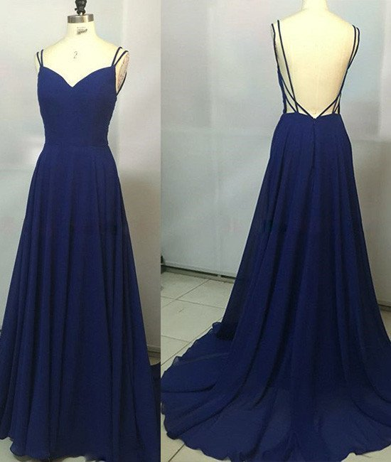 Sexy Backless Evening Dress Dark Blue Long By Fancygirldress On