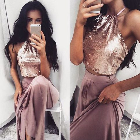 Sexy Evening Dress, Sleeveless Halter Long Prom Dress, Formal Dress