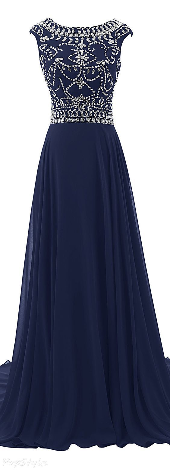 Sexy Royal Blue Prom Dress, Beaded Long Prom Dresses, Formal Evening Dress