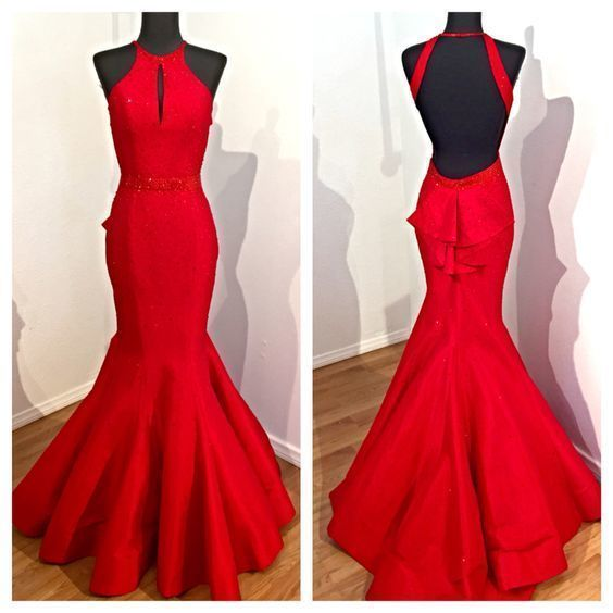 Sexy Mermaid Evening Dress, Sexy Red Long Prom Dress, Formal Dress