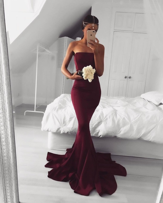 Sexy Mermaid Evening Dress, Strapless Burgundy Long Prom Dress, Formal Dress