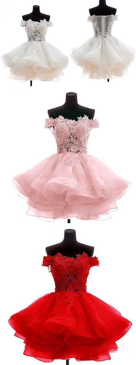Short Appliques Homecoming Dress, Tulle Pink/Red Prom Dress