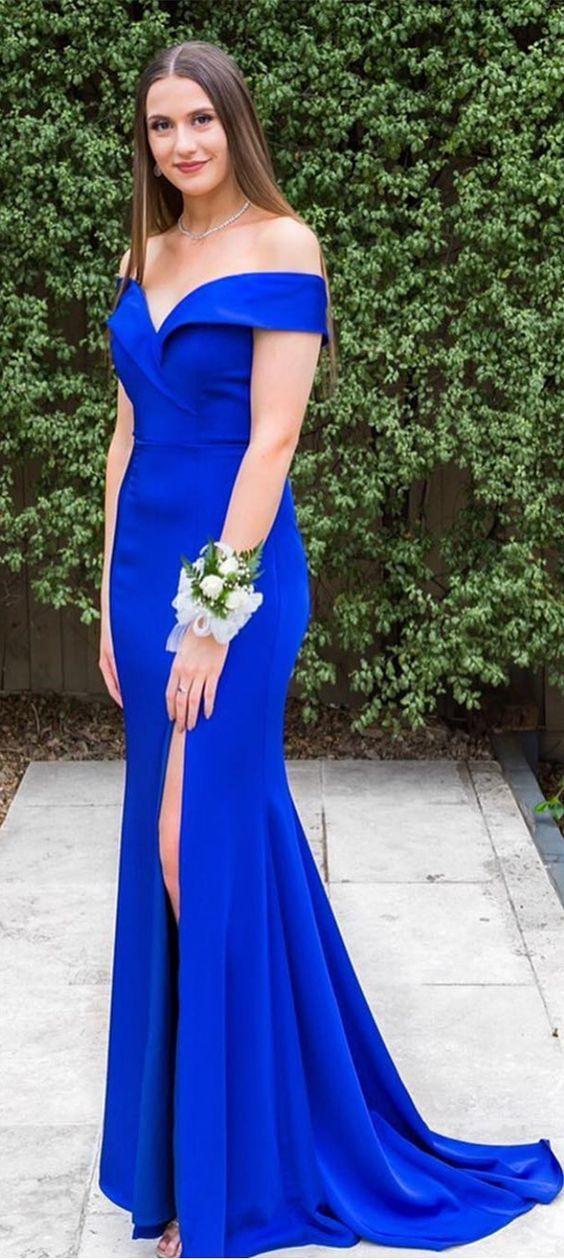 7342156e4251 elegant off the shoulder royal blue mermaid long evening dress with side  slit