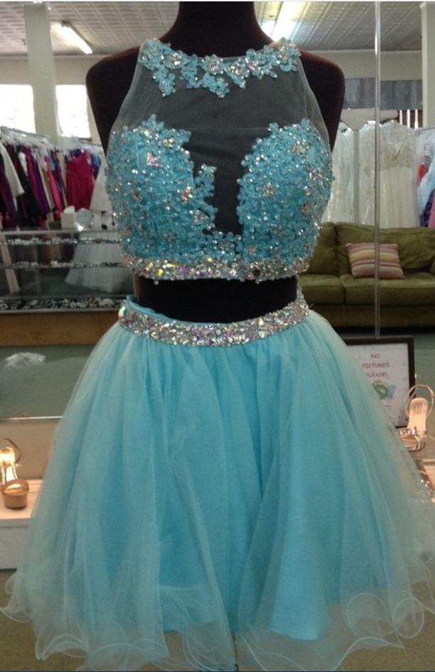 turquoise lace appliques homecoming by prom dresses on Zibbet