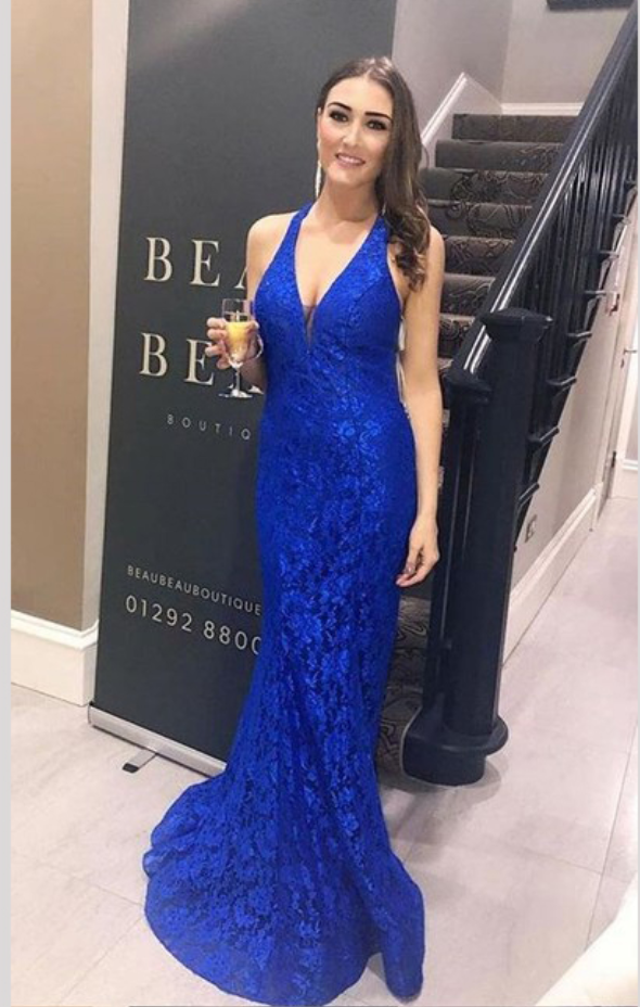 737280ea03b Elegant Royal Blue Halter Sleeveless Evening by prom dresses on Zibbet