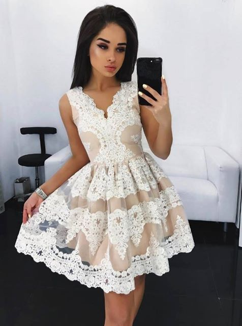 H54 Lace Pretty Short/Mini Homecoming Dress Pretty A-Line Homecoming