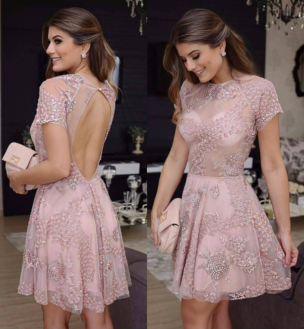 H55 Backless Pretty Short/Mini Homecoming Dress Pretty A-Line Homecoming