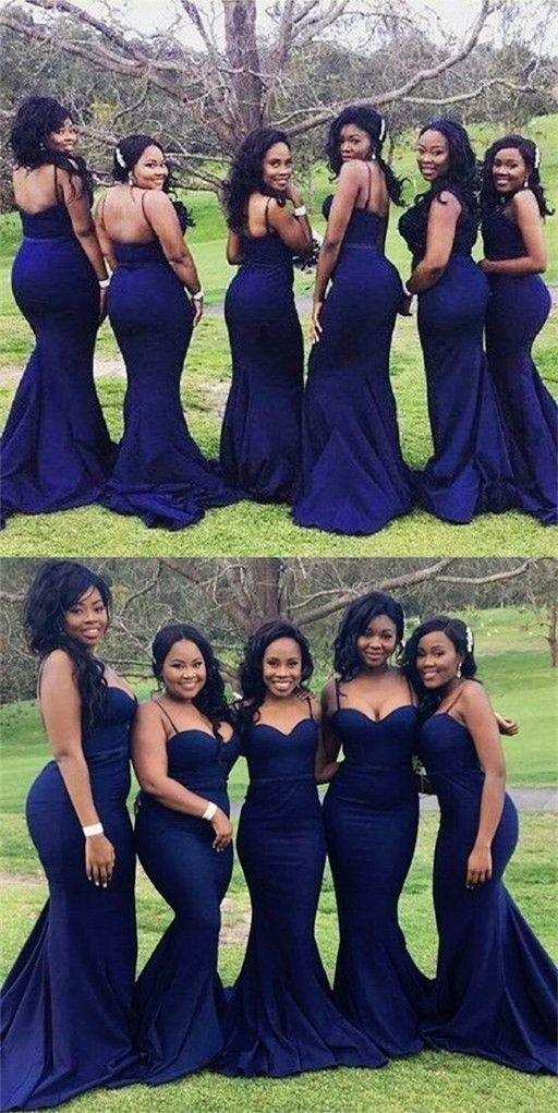 Navy blue bridesmaid dresses long mermaid