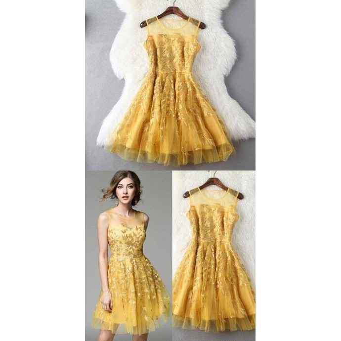 H57 Gold Lace Pretty Short/Mini Homecoming Dress Pretty A-Line Homecoming