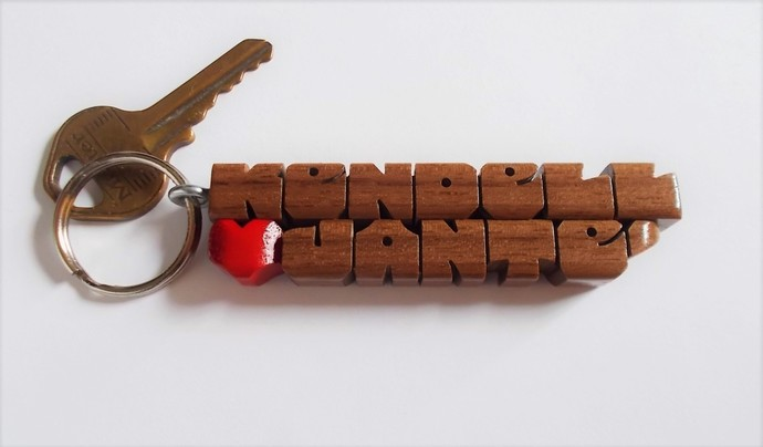 Walnut Wood 2-Liner Love Keychain, Names Custom Carved to Order