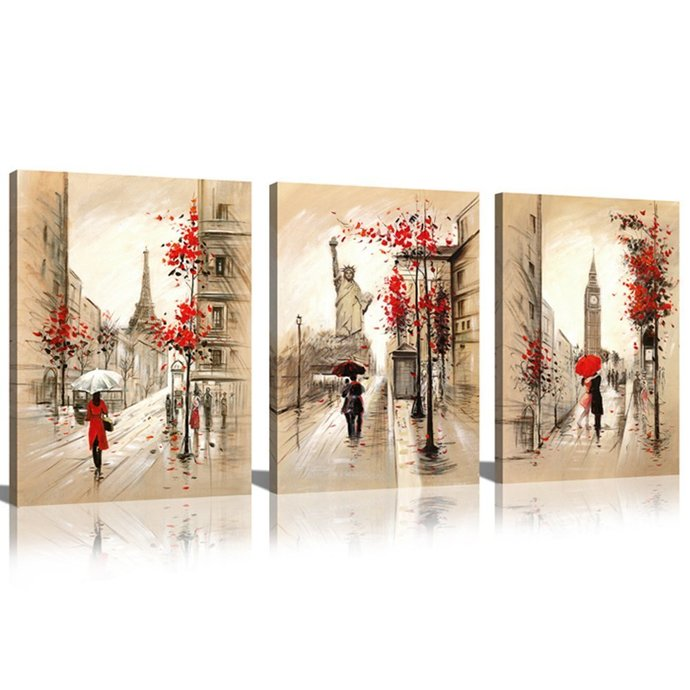 Sunrise Art-Canvas Prints Paris Street and Eiffel Tower Oil Painting Modern Wall