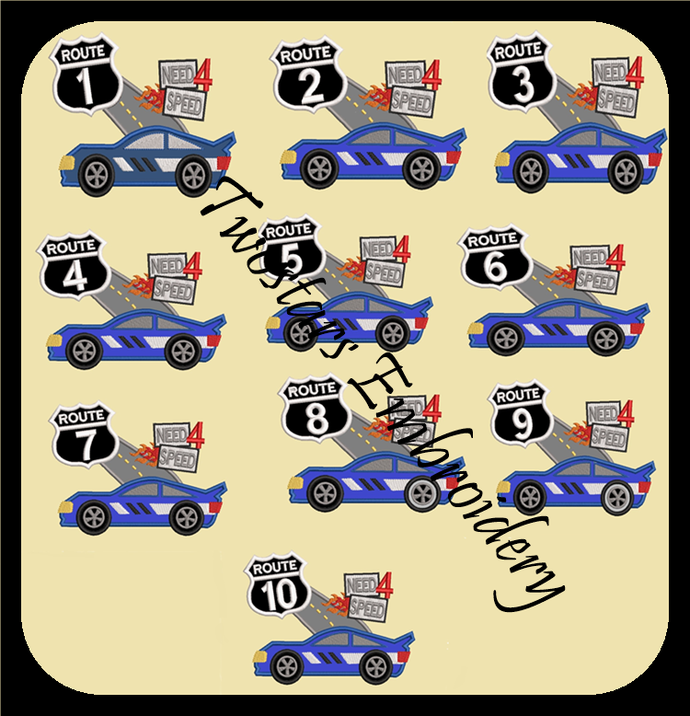 Racecar birthday number set. In sizes 4x4 5x7 digital applique files.