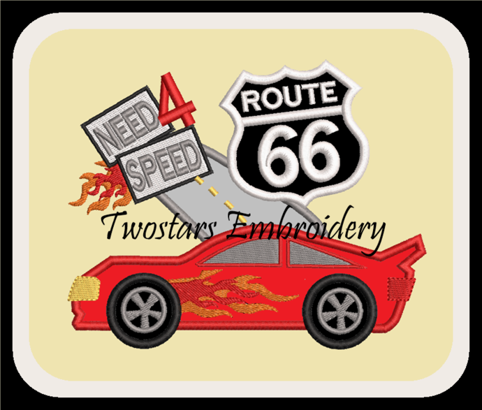Racecar on Route 66 need for speed. In sizes 4x4 5x7 6x10 will fit MB4 hoops