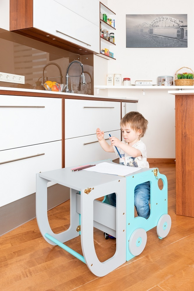 Montessori kitchen step stool for children/ table and chair