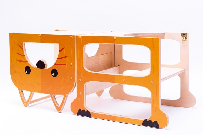 Kitchen step stool FOR TWO ''Funny fox'' , step stool, table and chair.