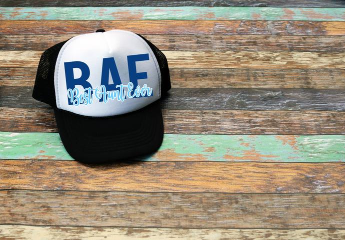 Best Aunt Ever Bae Aunt Gifts Custom Trucker Hat Mom Hat Personalized Trucker Hat Custom Mom Trucker Hat Custom Trucker Hats