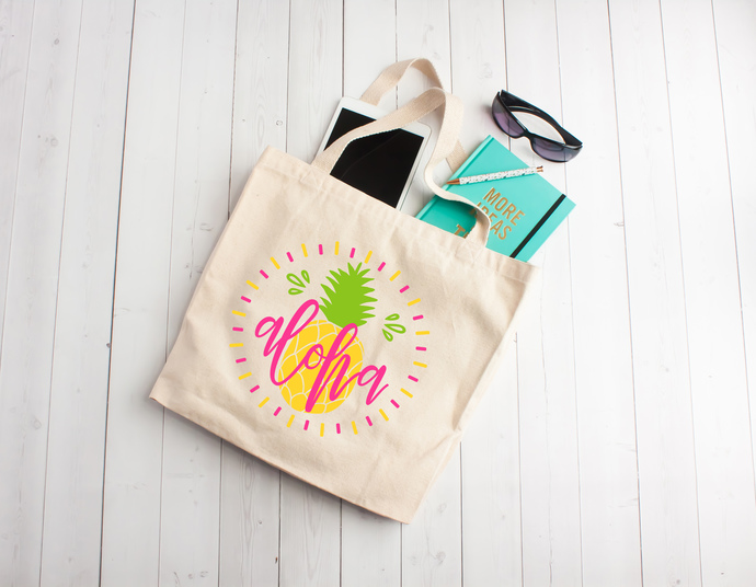 Aloha, pineapple, tote bag, custom tote bags, bachelorette party bags, gift