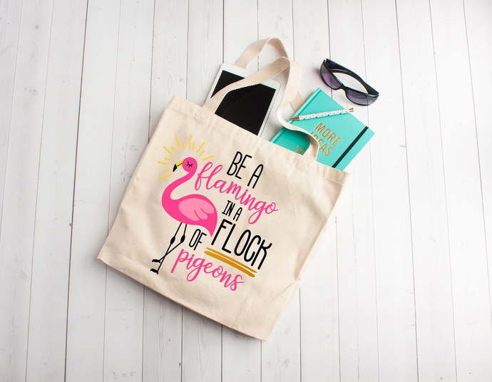 Be a flamingo in a flock of pigeons, tote bag, custom tote bags, bachelorette