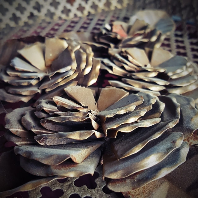 Industrial photography, modern farmhouse, metal flowers, fixer upper style, wall