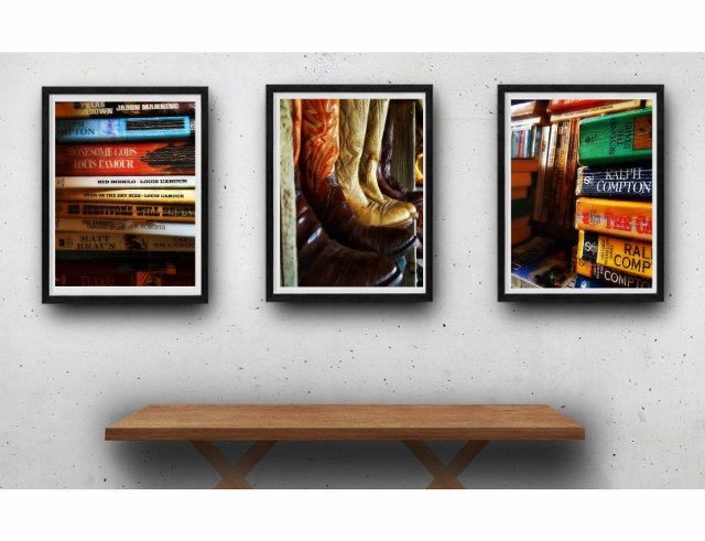 Rustic photography print set, western books, cowboy boots, modern rustic, modern