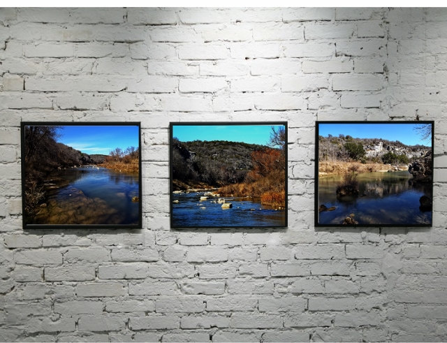 Nature photography print set, river, modern rustic, outdoor photography, blue