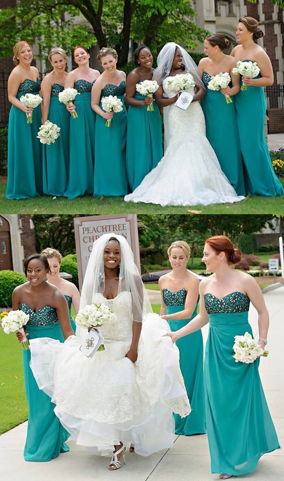elegant turquoise long bridesmaid dresses, simple by Hiprom on Zibbet