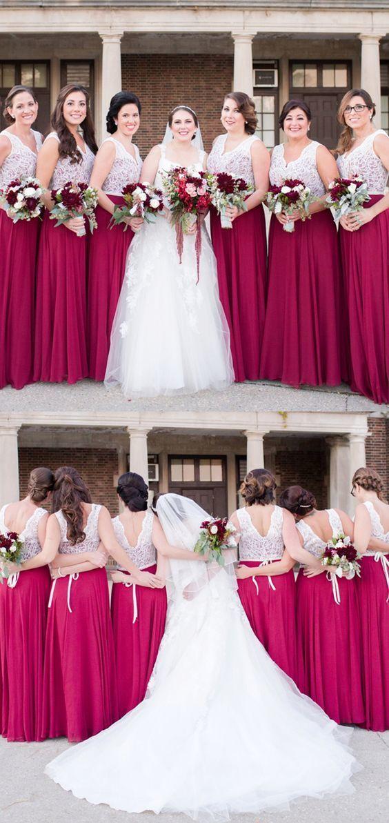 Fuschia Long Bridesmaid Dresses