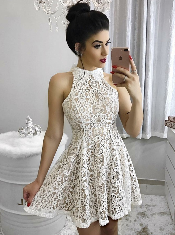 A-Line Jewel Short Light Champagne Lace Homecoming Dress