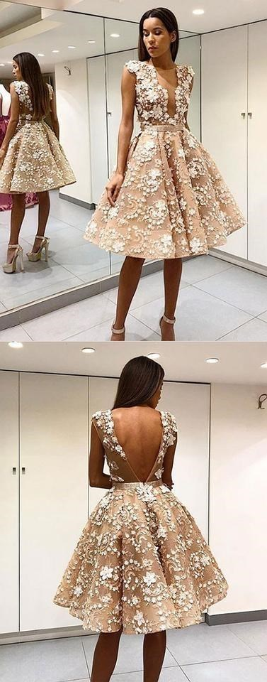 Cute lace applique short prom dress, homecoming dresses