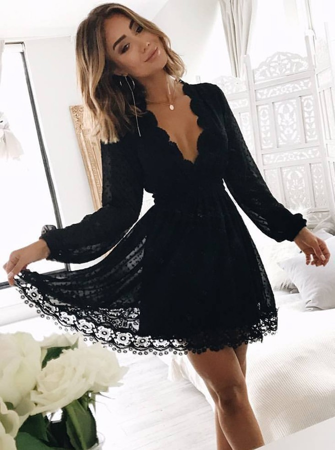 A-Line V-Neck Long Sleeves Little Black Lace Homecoming Dress