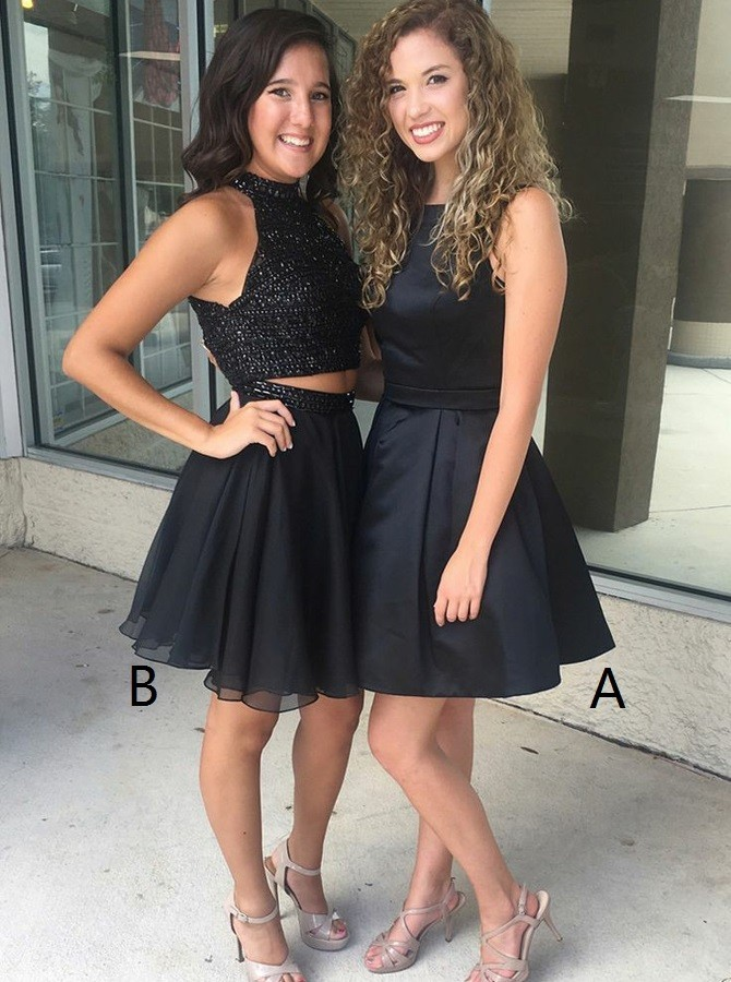 (Dress B)  A-Line Short Black Homecoming Dress